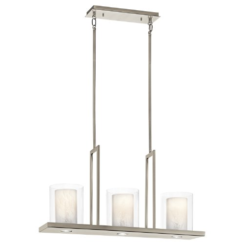 Kichler Lighting 42547CLP Triad 3-Light Linear Chandelier, Classic Pewter Finish with Clear/White Vetro Mica Glass