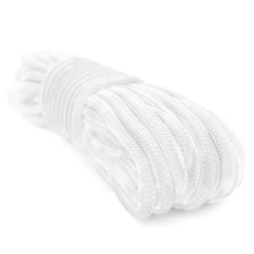 Emergency Zone 9mm (3/8 inch) Nylon Braided, 50 Foot, Multi-Purpose Rope. White Single Pack 50' White Nylon Rope