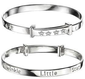 D for Diamond Twinkle Twinkle Little Star Adjustable Bangle in Silver