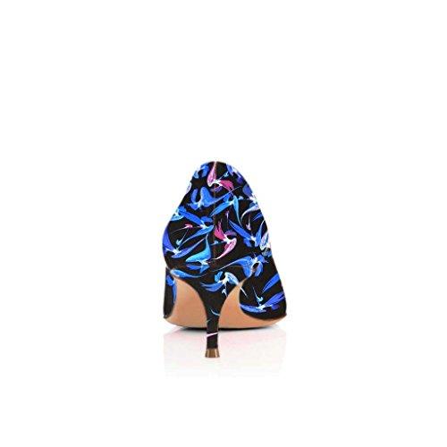 Fsj Donne Sexy Pompe A Punta A Punta Multicolore Slip On Mid Tacchi Alti Scarpe Da Donna Taglia 4-15 Us Blue-5.5 Cm