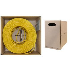 Dealsjungle Bulk Shielded Cat 5e Yellow Ethernet Cable, STP (Shielded Twisted Pair), Solid, Pullbox, 1000 - 25' Pink Cat5e Patch