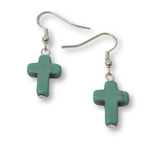 Silver Tone Turquoise-colored Cross Earrings Christian Catholic Jewelry Lightweight Fishhook Dangle Women's Earring Set (Cross Ring Turquoise)