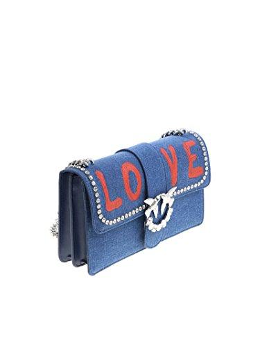 Pinko Damen 1P214AY4K4E63 Blau Leder Schultertasche
