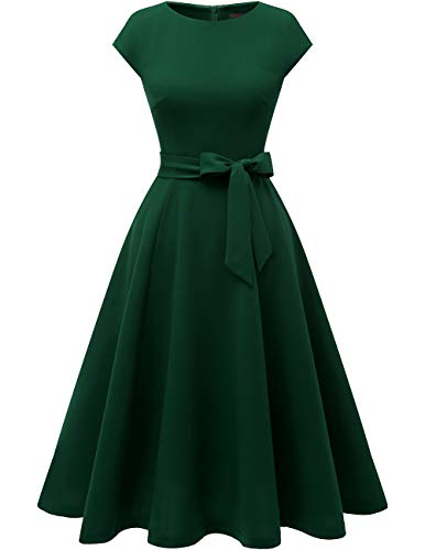 DRESSTELLS Women's Vintage Homecoming Tea Dress Cocktail Party Swing Dress with Cap-Sleeves DarkGreen XL