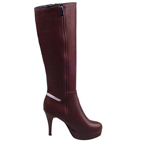 ... Damen High Braun Knee Winter Modern Kniehohe Stiletto 10cm und Elegant  AIYOUMEI Stiefel Absatz Boots Plateau ... 18a41e889a