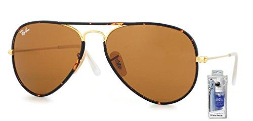 Ray Ban RB3025JM 001 58 Arista/Brown Aviator Sunglasses Bundle-2 Items