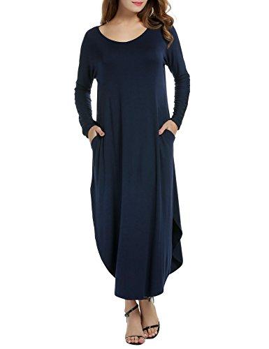 ACEVOG Women's V Neck Pocket Loose Oversized Dress