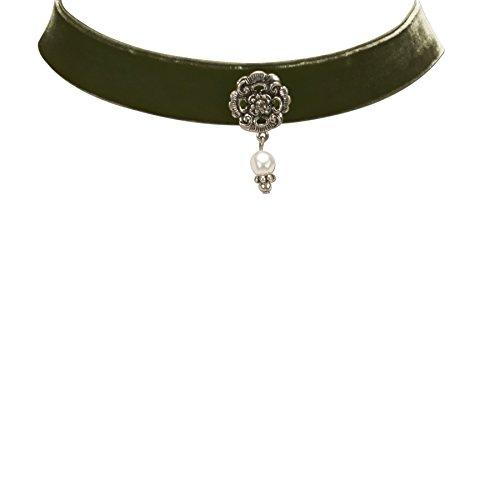 Alpenflüstern Damen Trachten-Samtkropfband Frida grün DHK16800050