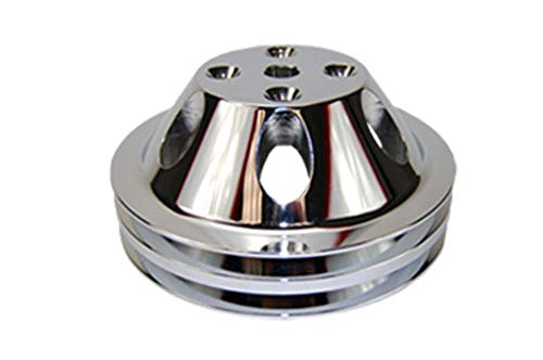Pirate Mfg SBC Chevy 283-350 Machined Aluminum LWP Double Groove Water Pump Pulley ()