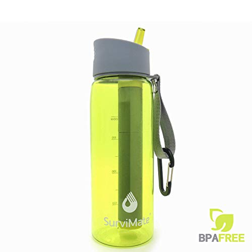 SurviMate Filtered Water Bottle for Camping, Hiking, Backpacking and Travel, BPA Free with 4-Stage Intergrated Filter Straw (Yellow)