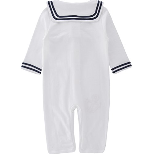 XM Nyan May's Baby Toddler Boys Sailor Stripe Romper Marine Navy Romper Onesie Outfit
