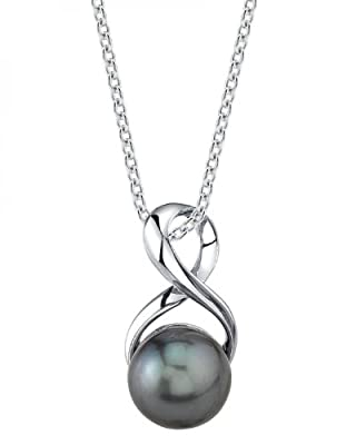 THE PEARL SOURCE Genuine Black Tahitian South Sea Cultured Pearl Infinity Pendant Necklace for Women