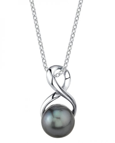 9mm Tahitian Cultured Pearl Infinity Pendant Silver Tahitian Cultured Pearl