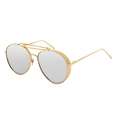LLZTYJ Sonnenbrille/Wind/Licht/Fahren/Geburtstag/Geschenk/Dekoration/Ultraleicht/Sonnenbrillen/Frau Brille Sonnenbrille/Rundes Gesicht, Gold Rahmen-Wasser Silber
