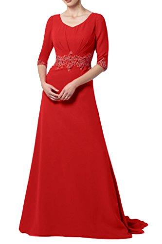 La_Marie Braut Elegant Rot Chiffon Langarm Abendkleider Partykleider Festlichkleider fuer Hochzeits party
