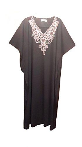 (14709 Poulie FIONALISSA STRASS NOIR pour 35%  coton/65%  Polyester, Jersey doux Kaftan. Long tricoté Taille unique convenant à tous (UK 10 32).