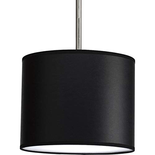 - Progress Lighting P8820-01 Modular Pendant System Choose Shade and 1-Light Stem (P5198) To Make Complete Fixture 10-Inch Drum Shade, Black Parchment Paper