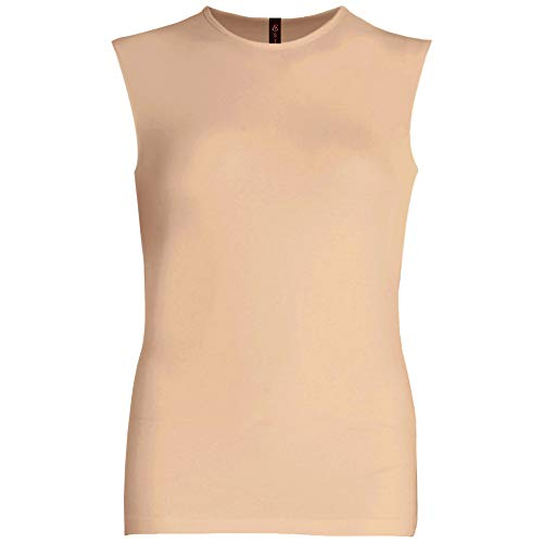 - Esteez Womens Sleeveless Fitted Base Layering T-Shirt Tan X-Large