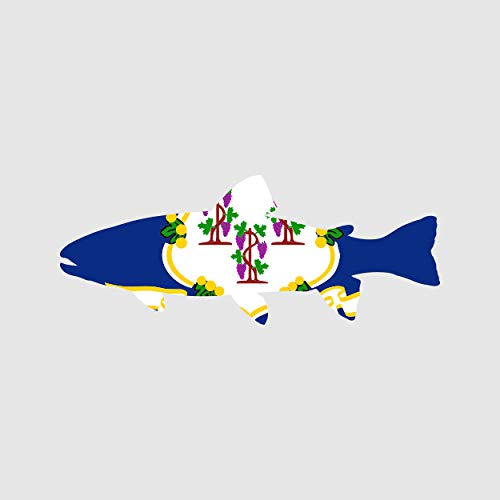 Connecticut State Shaped Trout Sticker Self Adhesive Vinyl Decal CT Fly Fishing Fish