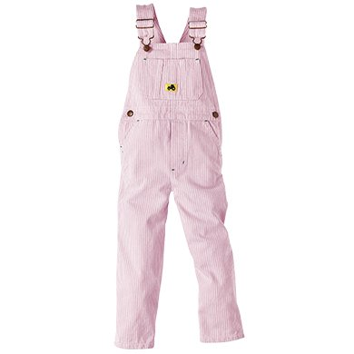 Walls John Deere Toddler Girls Washed Pink Hickory Stripe Bib Overalls ()
