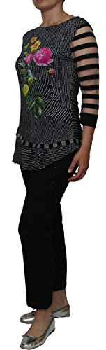 Save the Queen - Camisas - Floral - Cuello redondo - manga 3/4 - para mujer negro
