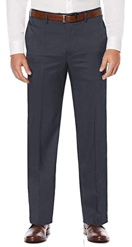 Savane Men's Big and Tall Flat Front Stretch Crosshatch Dress Pant, Charcoal, 44W x 28L