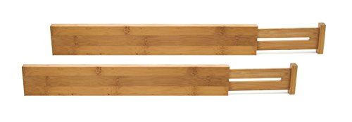 Lipper International 8898 Bamboo Wood Custom Fit Adjustable Kitchen Drawer Dividers, Set of 2