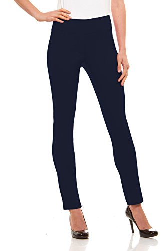 Velucci Womens Straight Leg Dress Pants - Stretch Slim Fit Pull On Style, Navy-XL