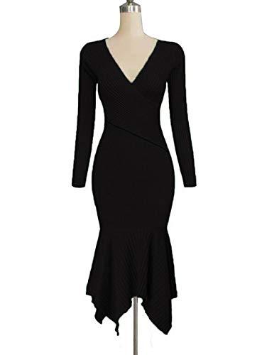 70f059d1 Uotige Womens Long Sleeve Stretchable Elasticity Slim Fit Sweater Dress  Surplice Wrap Bodycon Knit Maxi Dress