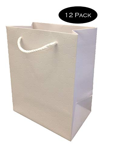White Gift Bags with Handles 12 Pack Medium 8 x 5 x 10 Premium Heavy Duty 250 gsm Quality Paper Merchandise Elegant Embossed Euro Tote for Wedding, Baby Shower Modeeni (White, 8 x 5 x 10)