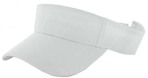 White_Plain Visor Sun Cap Hat Men Women Sports Golf Tennis Beach New Adjustable (US Seller)