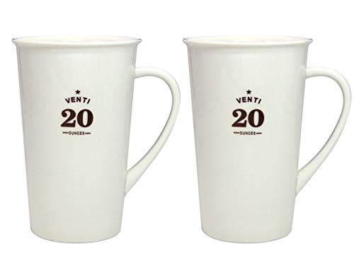 Momugs Classic Style Simple Pure Large Milk Coffee Mug Set of 2, Tall White Ceramic Coffee Cup, 20 oz ()