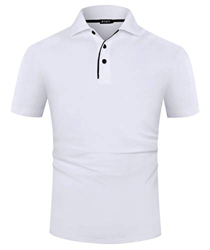 Musen Men White Polo Shirts Cotton Classic Fit Short Sleeve Sport T-Shirt Casual PolosS