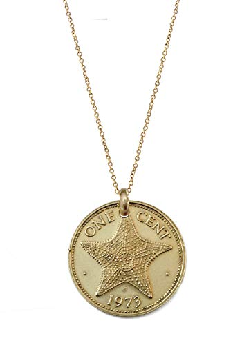 Worn History Original Small Bahamas Starfish Penny Coin Necklace (1970-1985) (16 inches) ()
