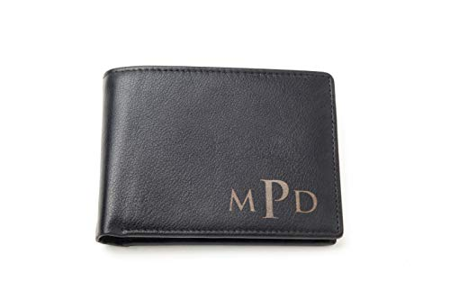 Personalized Black Leather Wallet for Men - Custom Engraved Man Gift for Him