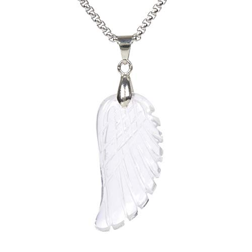 JUST IN STONES Natural Clear Quartz Gemstone Crystal Healing Reiki Chakra Charm Angel Wing Pendant Necklace 20