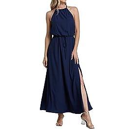 YOINS Women Sleeveless Spaghetti Strap Maxi Dress Sexy Tie Dye V Neck Beach Dress Beachwear Sundresses
