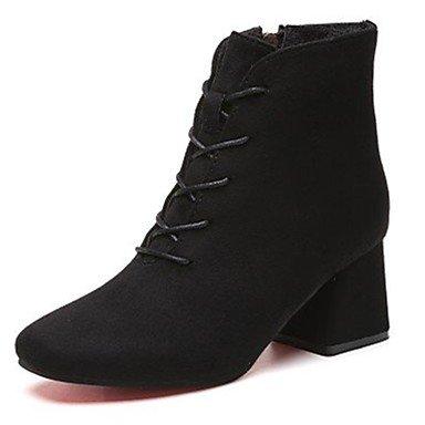 RTRY Zapatos De Mujer Cuero De Nubuck Pu Suede Caída Confort Botas Botas De Combate Chunky Talón Square Toe Botas Mid-Calf Lace-Up For Casual Sonrojarse US5.5 / EU36 / UK3.5 / CN35