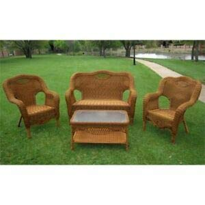 JumpingLight Maui 4 Piece Wicker Patio Sofa Set in Mocha Durable and Ideal for Patio and Backyard (Furniture Maui Office)