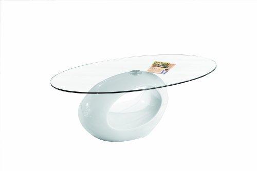 Inter Link 50100120 Couchtisch Weiss Hochglanz Glastisch