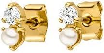 PAUL VALENTINE® Stud Pendientes Ariel para mujer - 18K bañados en oro - con perlas y circonitas de alta calidad - Joyas para mujeres - Regalo para mujeres