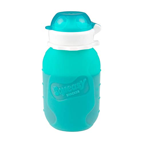 Aqua 6 oz Squeasy Snacker Spill Proof Silicone Reusable Food Pouch - for Both Soft Foods and Liquids - Water, Apple Sauce, Yogurt, Smoothies, Baby Food - Dishwasher Safe