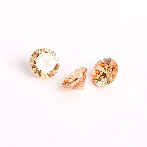 Calvas 50pcs/lot Cubic Zirconia Stones 4mm 6mm 8mm AAA Grade CZ Round Zircon Pedra De Zirconia Beads for Jewelry Making DIY - (Color: Champagne, Item Diameter: 6mm)