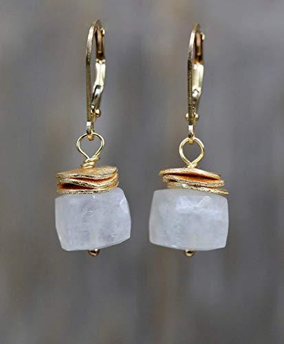 (Rainbow Moonstone Gemstone Cube Earrings Gold- 1