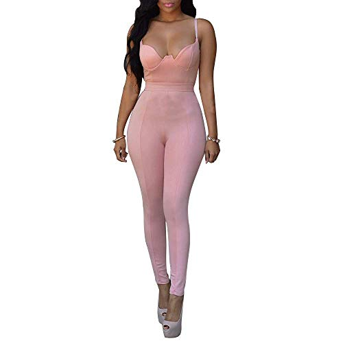 SEAWEED Women's Spaghetti Strap V Neck Jumpsuit High Waist Bodycon Long Pants Rompers ()