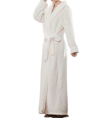 Robe Flannel White (Nanxson TM Unisex Women Men's Extra Long Ankle Long Shawl Collar Flannel Bathrobe Terry Robe SYW0069 (M, White))