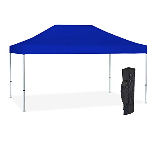 - Vispronet - Strong Instant 10ft x 15ft Blue Canopy Tent Kit - Pop Up Tent - Steel Hex Frame - Water-Resistant 450D Canopy with Roller Bag and Stakes