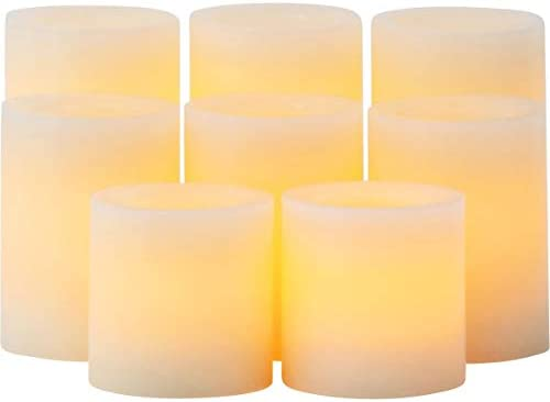 Candle Impressions Set of 8 Patented Faux Wick Cream Wax Battery Operated Flameless Pillar Candles with Auto Timer Option – Assorted Sizes