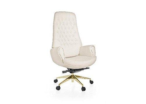 Chefsessel CHAIRMAN AMSTYLE Weiß Gold Echt Leder Metall & Kunststoff Textil