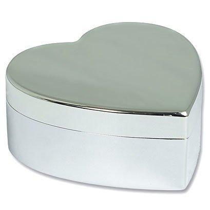 Personalised Large Silver Plated Heart Jewellery Trinket (Heart Silver Trinket Box)